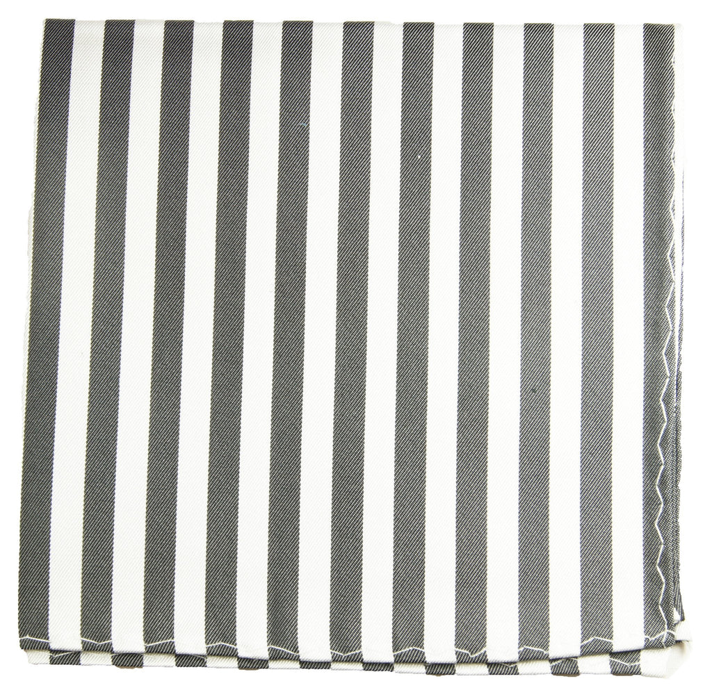 Grey and White Striped Silk Pocket Square Paul Malone  - Paul Malone.com