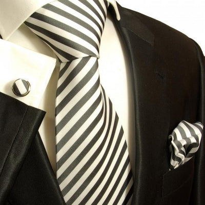 Extra Long Charcoal and Off White Silk Necktie Set by Paul Malone Paul Malone Ties - Paul Malone.com