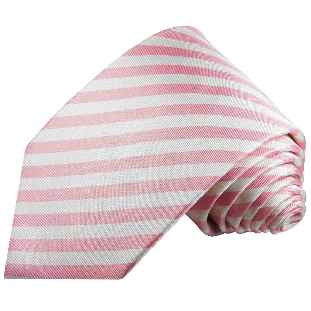 Pink and Cream Silk Tie, Pocket Square and Cufflinks Set Paul Malone Ties - Paul Malone.com