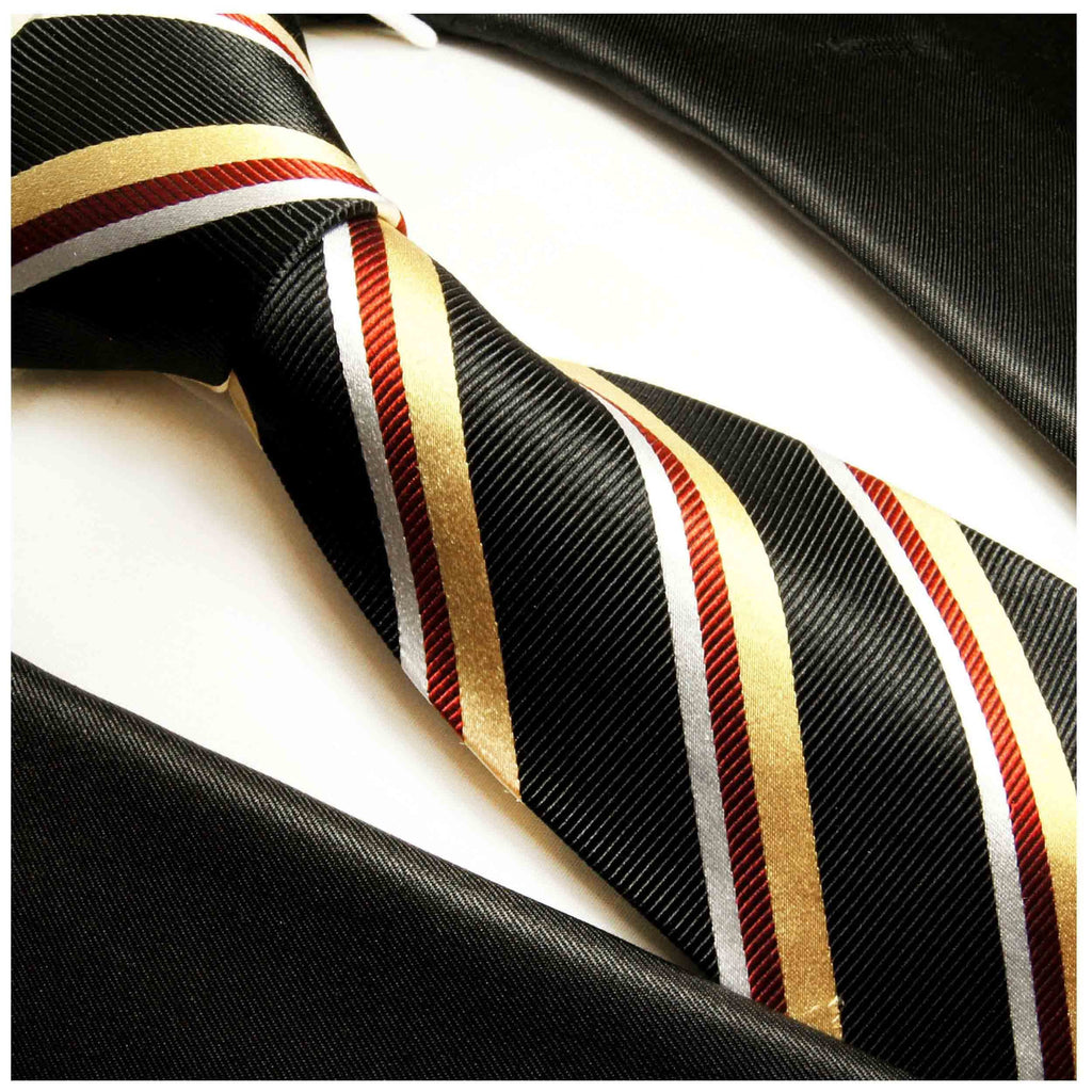 Black, Gold and Red Silk Tie, Cufflinks and Pocket Square Ties Paul Malone