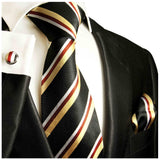 Black, Gold and Red Silk Tie, Cufflinks and Pocket Square Paul Malone Ties - Paul Malone.com