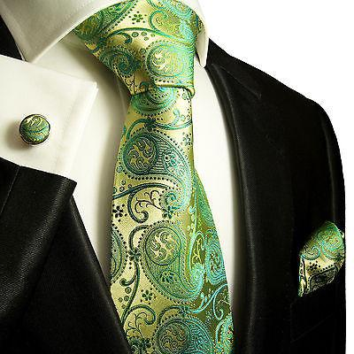 Green and Gold Paisley Silk Necktie Set by Paul Malone Paul Malone Ties - Paul Malone.com
