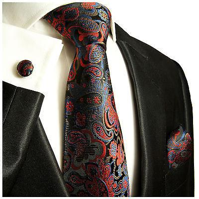 Nay and Red Paisley Silk Necktie Set by Paul Malone Paul Malone Ties - Paul Malone.com
