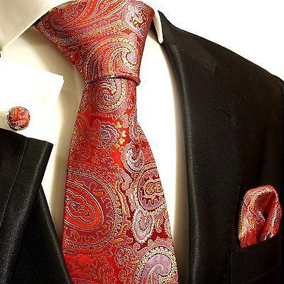 Silk Necktie Set by Paul Malone . Red, Blue and Gold Paisley Ties Paul Malone