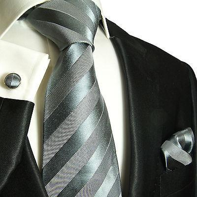 Silver Grey Striped Silk Tie and Accessories Paul Malone Ties - Paul Malone.com
