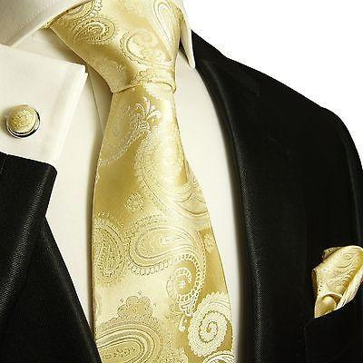 Extra Long Champagne Paisley Wedding Tie Set Paul Malone Ties - Paul Malone.com