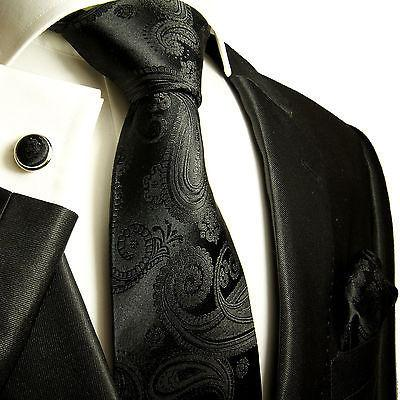 Classic Black Paisley Men's Silk Necktie and Accessories Paul Malone Ties - Paul Malone.com