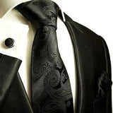 Classic Black Paisley Silk Tie and Accessories Ties Paul Malone