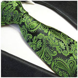 Silk Necktie Set by Paul Malone . Green and Black Paisley