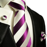 Silk Necktie Set by Paul Malone . Purple and White Stripes Ties Paul Malone