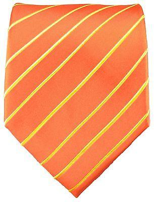 Orange Striped Silk Necktie Set Paul Malone Ties - Paul Malone.com