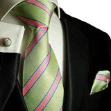 Extra Long Silk Necktie Set by Paul Malone . Mint Green and Pink Striped Paul Malone Ties - Paul Malone.com