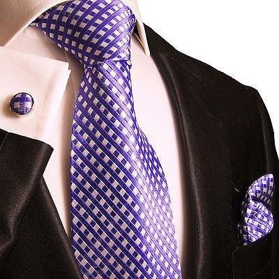 Silk Necktie Set by Paul Malone . Purple and White Paul Malone Ties - Paul Malone.com