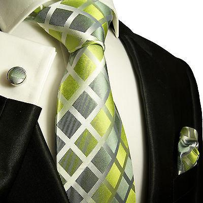 Silk Necktie Set by Paul Malone . Lime Green and Silver