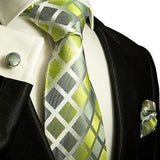 Silk Necktie Set by Paul Malone . Lime Green and Silver Paul Malone Ties - Paul Malone.com