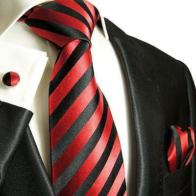 Silk Necktie Set by Paul Malone . Red and Black Stripes Paul Malone Ties - Paul Malone.com