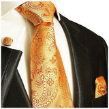 Silk Necktie Set by Paul Malone . Orange Paisley Paul Malone Ties - Paul Malone.com