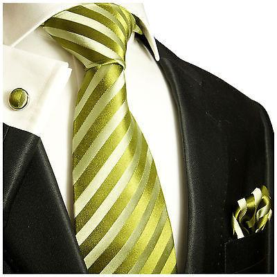 Extra Long Green Striped Silk Tie and Accessories Paul Malone Ties - Paul Malone.com