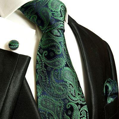 Silk Necktie Set by Paul Malone . Emerald and Navy Paisley
