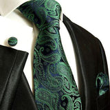Men's Necktie Set by Paul Malone . Emerald and Navy Paisley Paul Malone Ties - Paul Malone.com