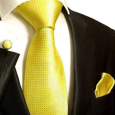 Silk Necktie Set by Paul Malone . Yellow Microchecks Paul Malone Ties - Paul Malone.com