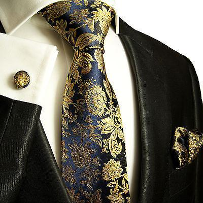 Navy and Gold Silk Tie and Accessories Paul Malone Ties - Paul Malone.com