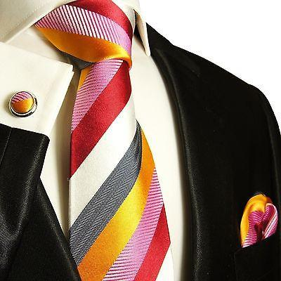 Striped Silk Necktie Set by Paul Malone