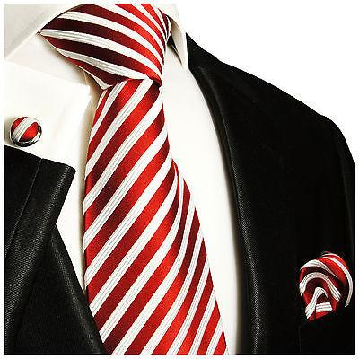 Silk Necktie Set by Paul Malone . Red and White