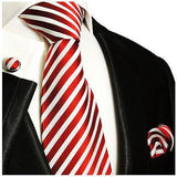 Silk Necktie Set by Paul Malone . Red and White Paul Malone Ties - Paul Malone.com
