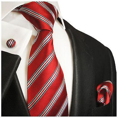 Red, White and Blue Striped Silk Tie and Accessories