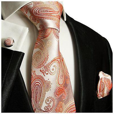 Brown and Blue Paisley Silk Tie Set by Paul Malone