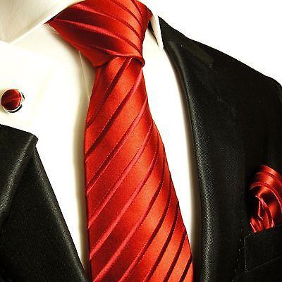 Red Striped Silk Tie with matching Accessories Paul Malone Ties - Paul Malone.com