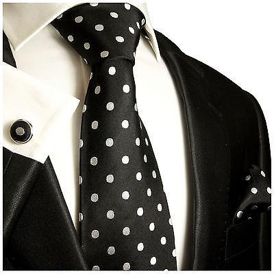 White on Black Polka Dotted Tie Set Paul Malone Ties - Paul Malone.com