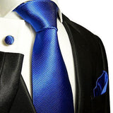 Solid Royal Blue Silk Tie and Accessories