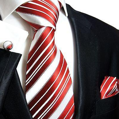 Silk Necktie Set by Paul Malone . Red and White Stripes Paul Malone Ties - Paul Malone.com