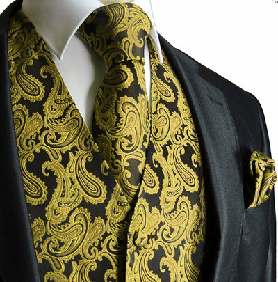 Elegant Green and Black Paisley Tuxedo Vest Set Vest Set Vest - Paul Malone.com