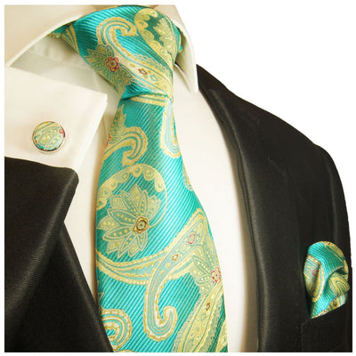 Extra Long Angel Blue and Gold Paisley Silk Necktie Set By Paul Malone Paul Malone Ties - Paul Malone.com