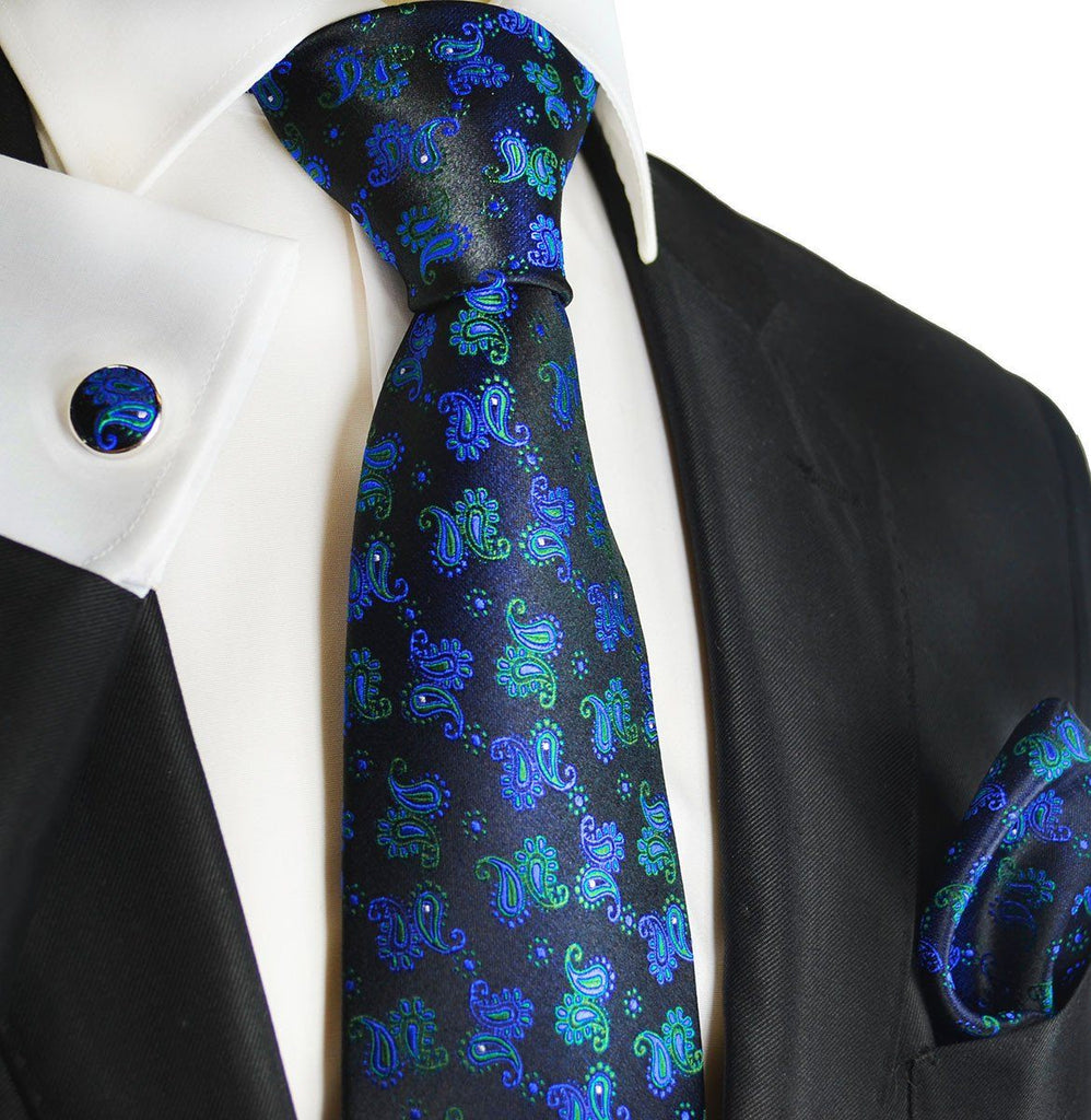 Blue, Green and Black Paisley Silk Necktie Set by Paul Malone Paul Malone Ties - Paul Malone.com