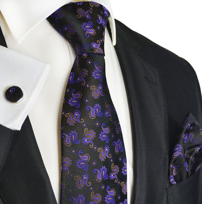 Violet and Black Paisley Silk Men's Tie and Accessories by Paul Malone Paul Malone Ties - Paul Malone.com