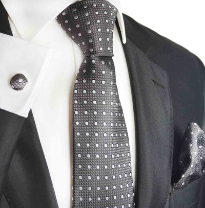 Charcoal and White Silk Tie by Paul Malone Paul Malone Ties - Paul Malone.com