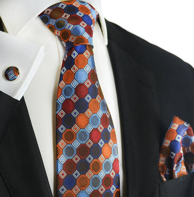 Burnt Ochre Silk Tie and Pocket Square by Paul Malone Paul Malone Ties - Paul Malone.com