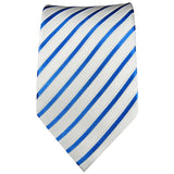Blue and White Striped Silk Tie Set by Paul Malone Paul Malone Ties - Paul Malone.com