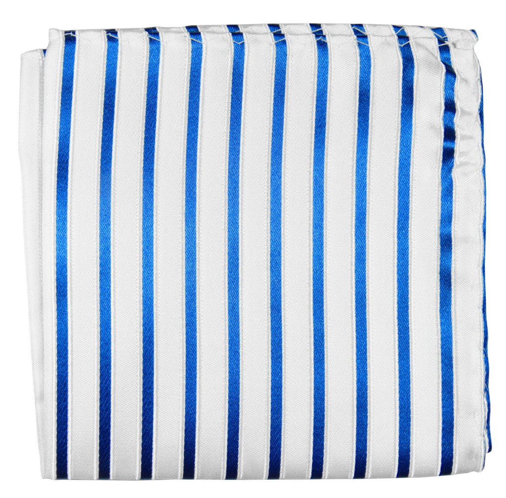 Blue and White Striped Silk Tie Set by Paul Malone Ties Paul Malone