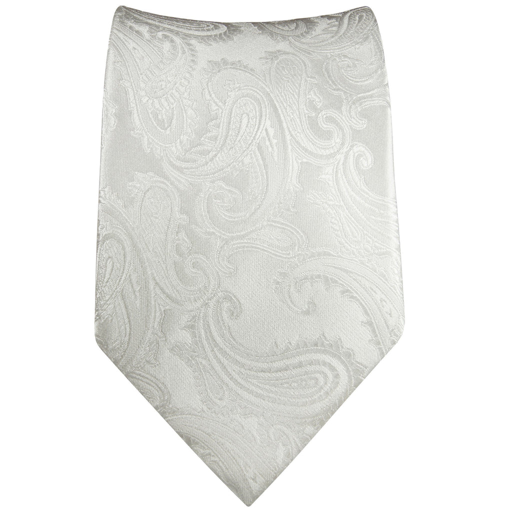 White Paisley Silk Tie Set by Paul Malone Paul Malone Ties - Paul Malone.com