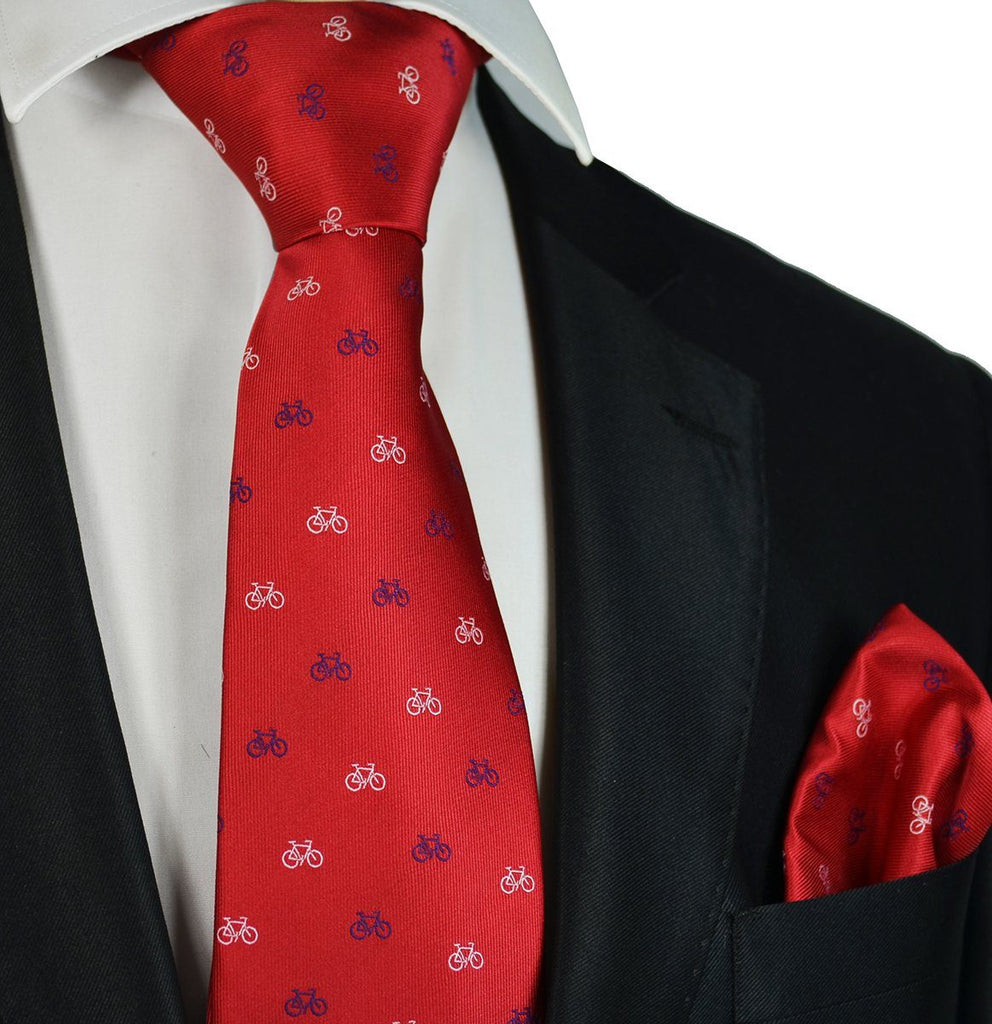 Red Bicycle Paul Malone Necktie and Pocket Square