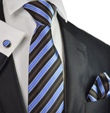 Blue, Brown and Black Striped Silk Tie Set Paul Malone Ties - Paul Malone.com