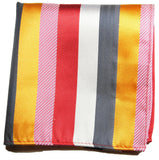 Multicolor Striped Silk Pocket Square Paul Malone  - Paul Malone.com