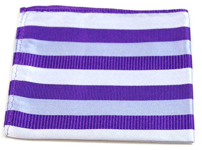 Purple and White Striped Silk Pocket Square Paul Malone  - Paul Malone.com