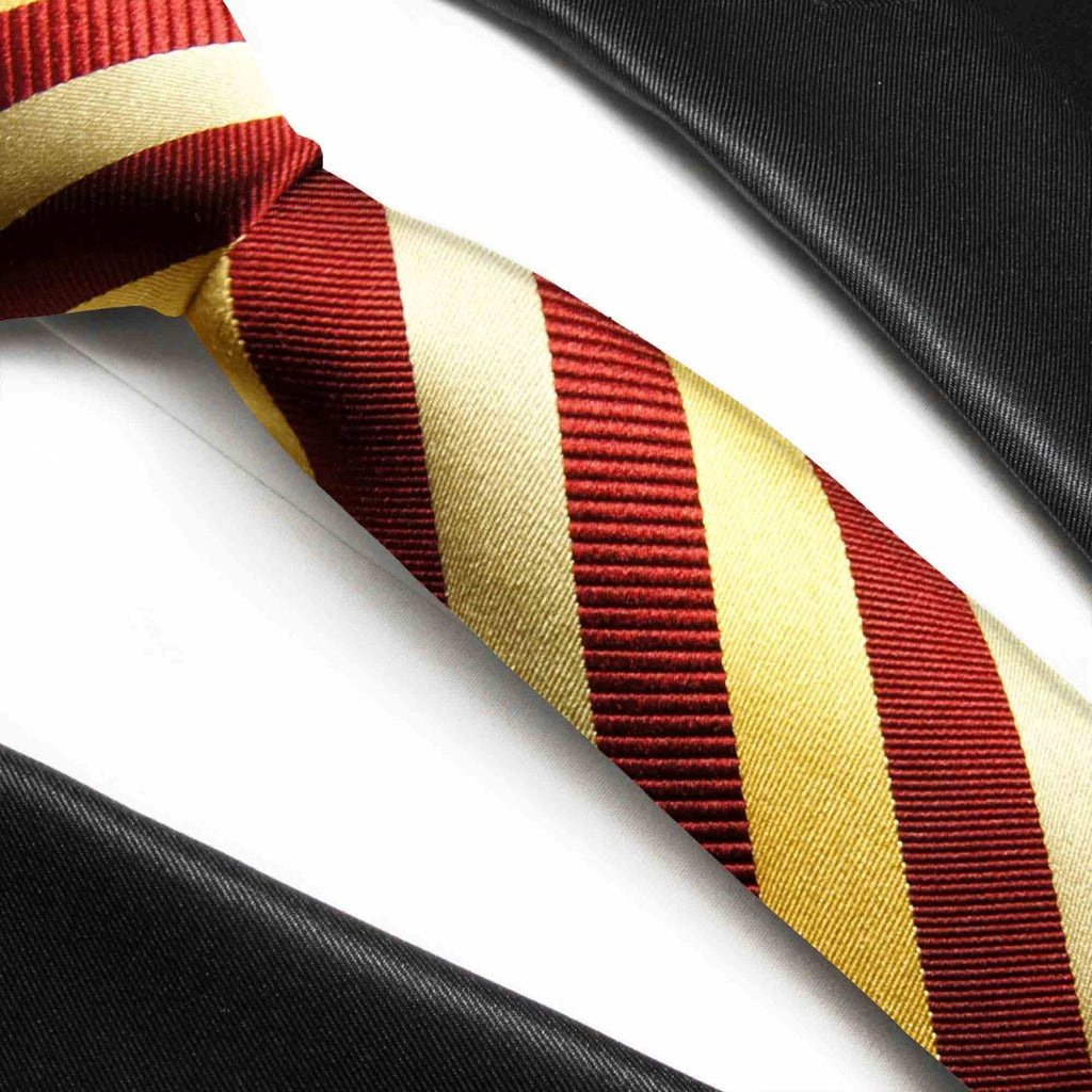 Maroon and Gold Striped Silk Necktie Paul Malone Ties - Paul Malone.com