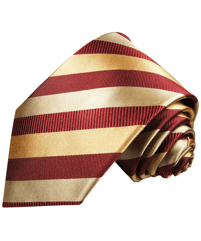 Maroon Red and Gold Striped Silk Necktie Paul Malone Ties - Paul Malone.com